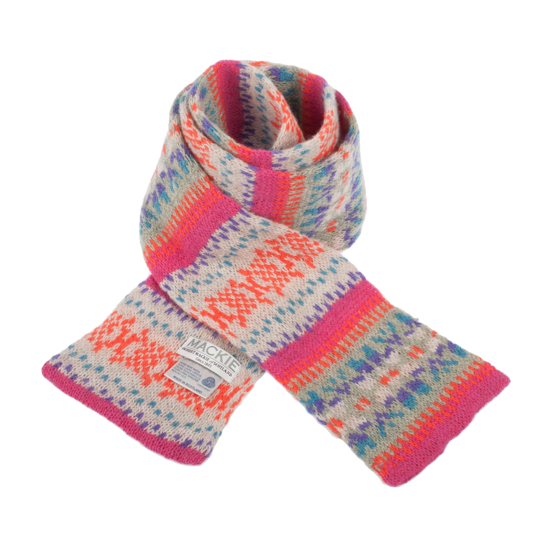 Robert Mackie Fairisle Tubular Lambswool Knitted Scarf eBay